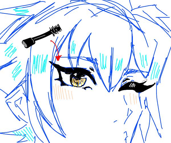 Anime boy with eyelash makeup