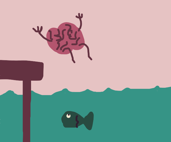 brain jumps into an ocean with fishies