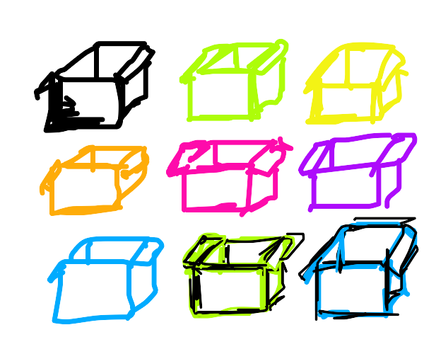 9 colored boxes