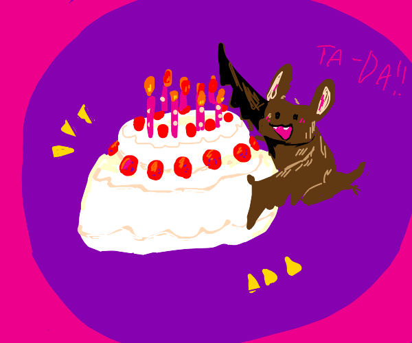 a bat presents a cake