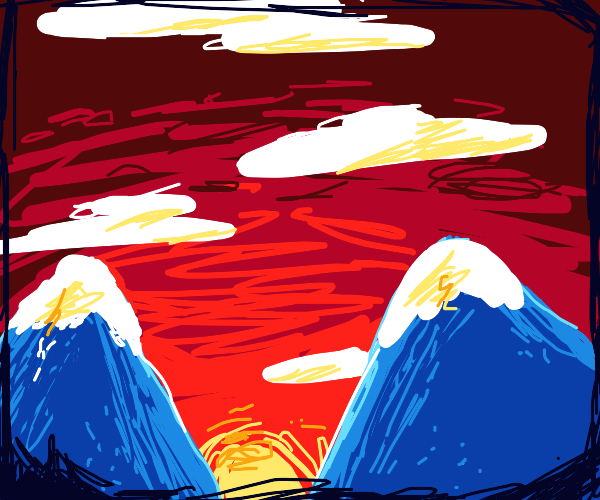 2 blue, snow-capped mountains