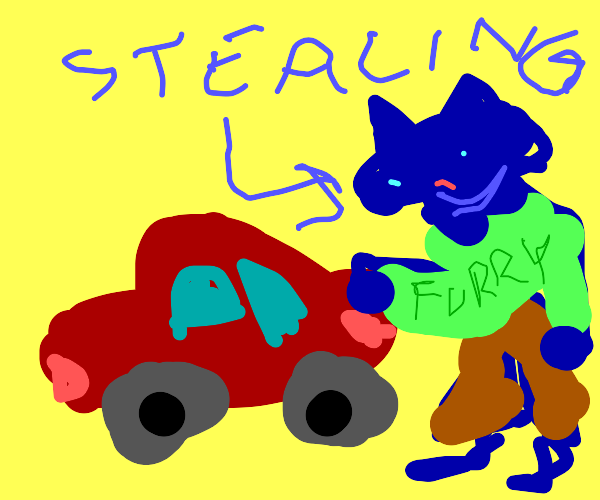 Furry is stealing someone's car