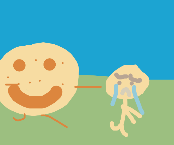 Cookie chases a sad person