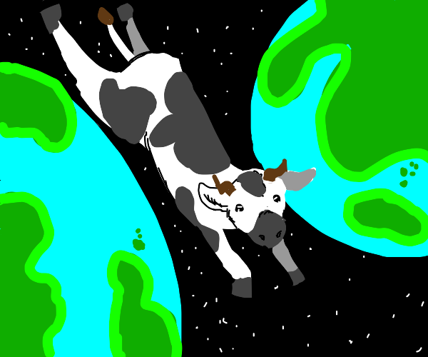 cow jumping between two earths