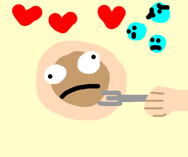 Pancakes love with bubbles  stabbed with fork
