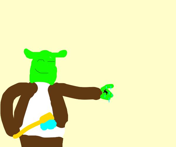 Shrek cleans an ant