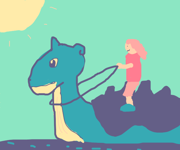 Girl with pink hair riding lapras