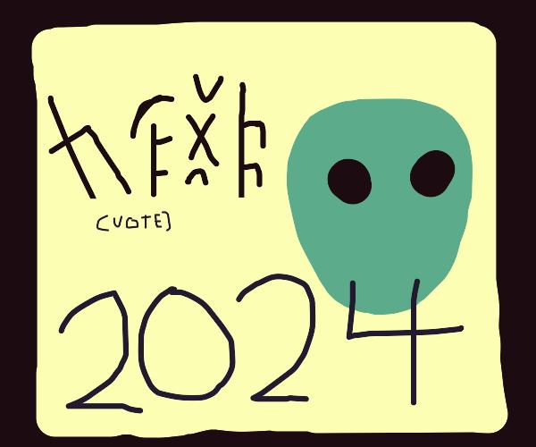 Vote alien poster with alien language