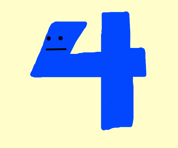The number four is blue and annoyed