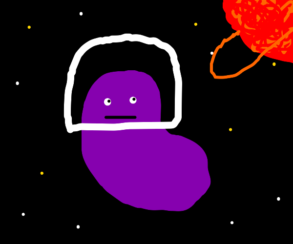 Purple bean with face in space