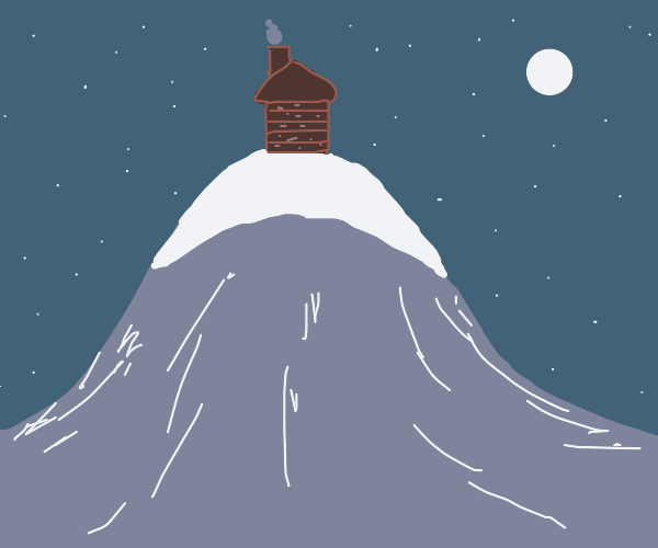 A cabin on a big hill on a snowy night
