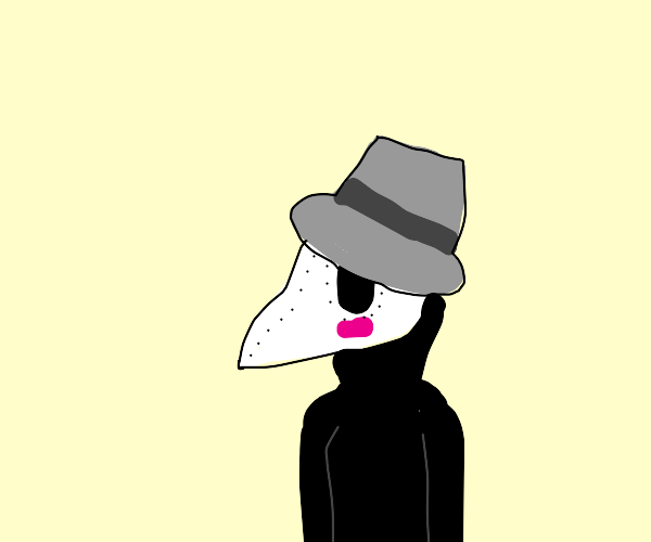 Blushing Plague Doctor in a black jacket