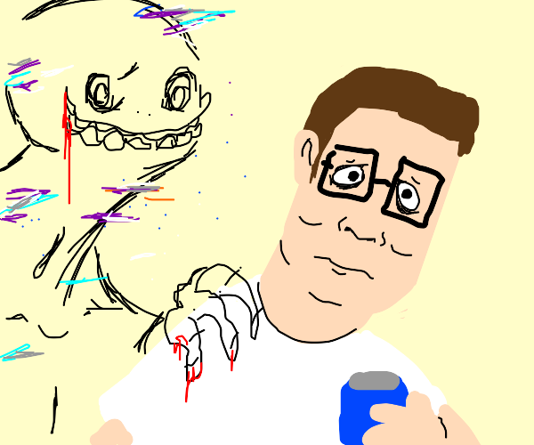 Hank hill meets glitchy unsettling creature