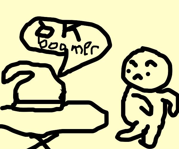 Boomer scared of an iron
