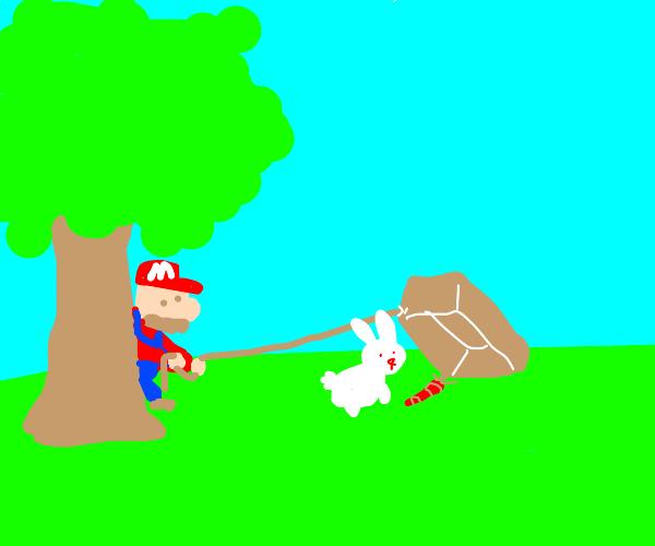 Mario captures a rabbit