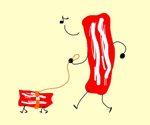 Whistling while taking pet bacon for a walk