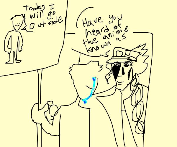 man overwhelmed by many jojo references