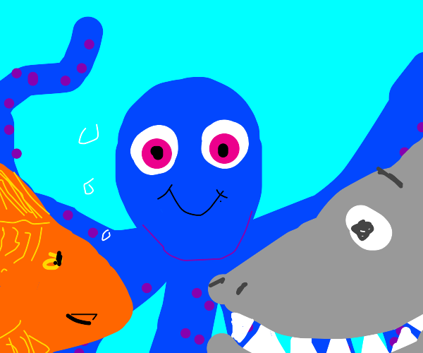 octopus, fish and shark friends swim together