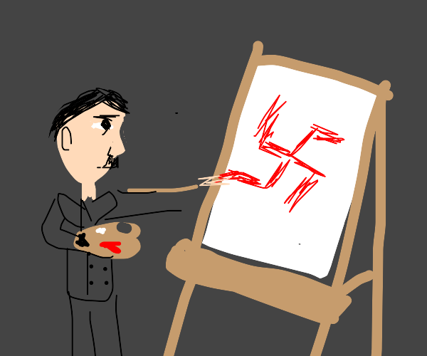 hitler in art school paining a swastika