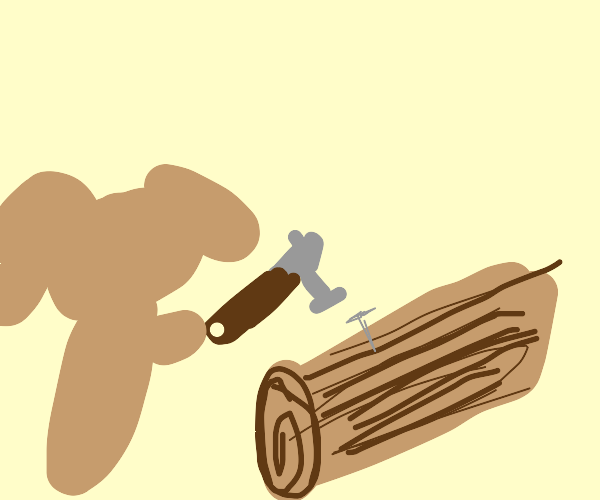 a dog about to hit a nail in a log