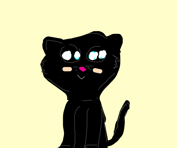 Black Cat with big anime eyes