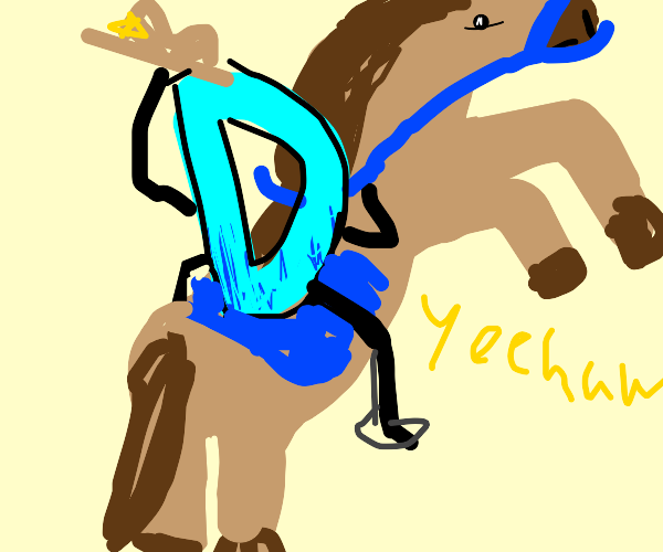 Drawception D and a horse