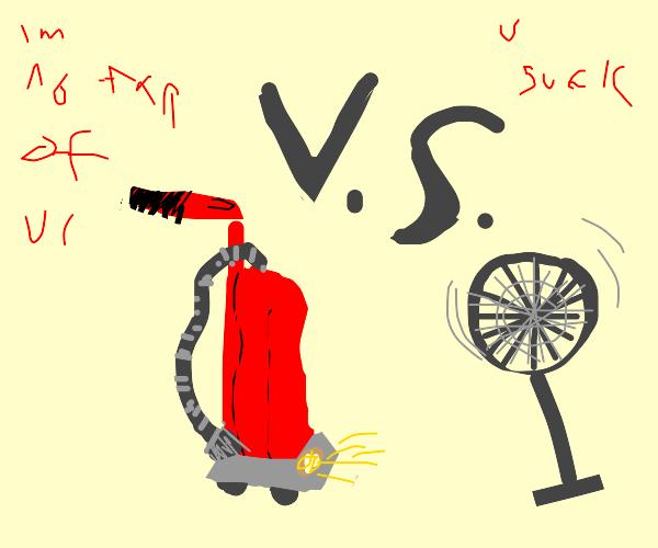 Red vacuum vs Fan