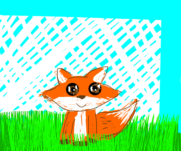 Fox in front of latticed fence.