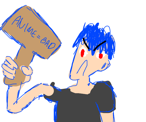 Blue guy protests anime