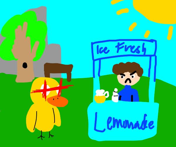 Duck walks up to a blue lemonade stand/tardis