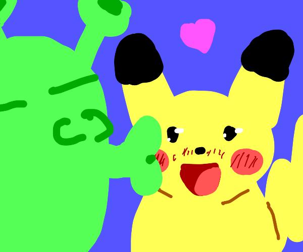 Shrek kisses Pikachu (romantic)