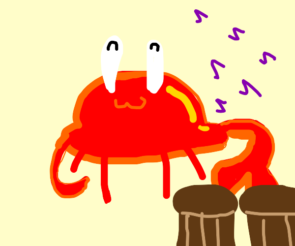 Crab likes to play the drums