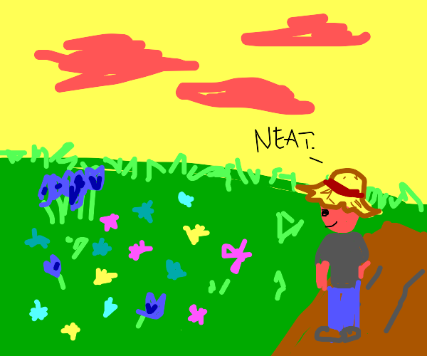 Farmer looking at some neat flowers