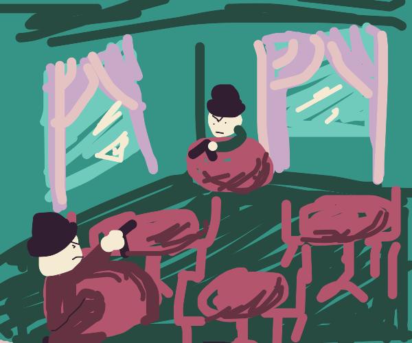 a gunfight in a restaurant..