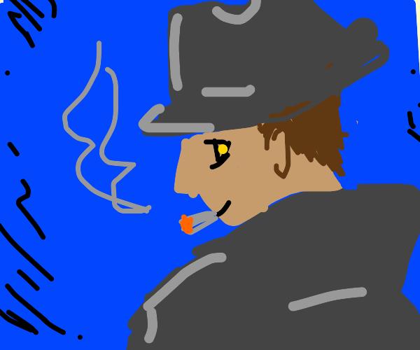 Quizzical man smiles a cigarette