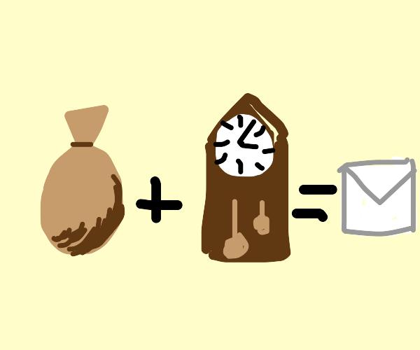 Bag + clock = envelope