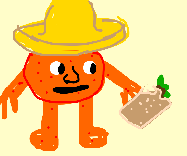 Mexican Orange eating a Burrito