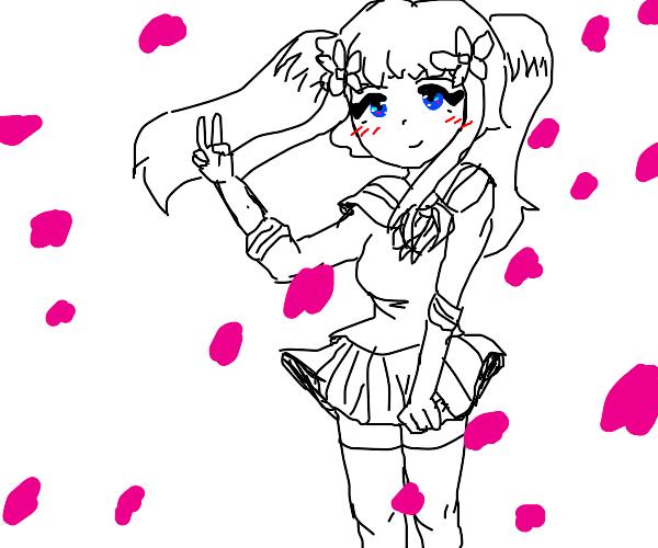 Beautiful anime schoolgirl