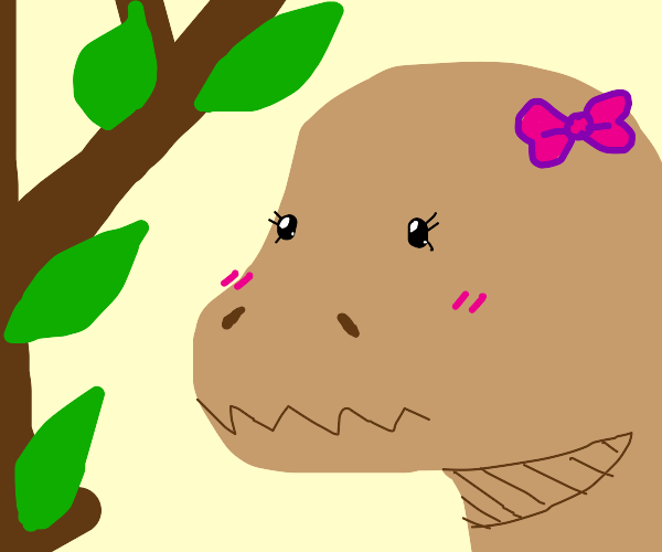 kawaii dinosaur with cute eyelashes