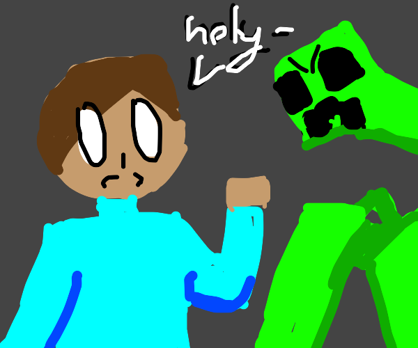 Steve getting attacked by mutated creeper
