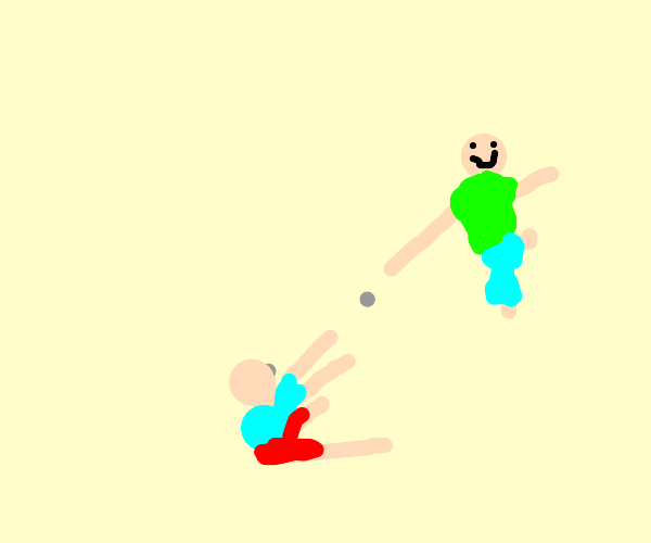 little kid throws rocks at his big brother