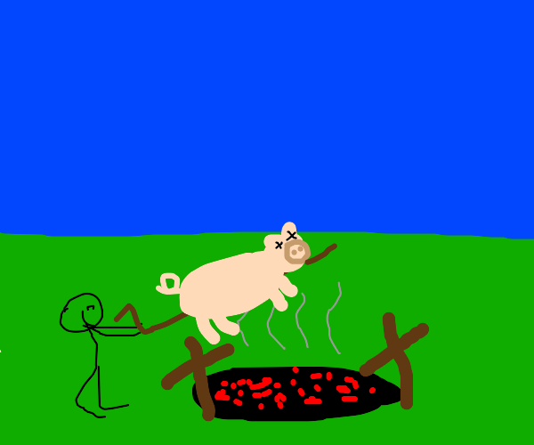 Dude about to barbeque a pig