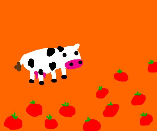 cow is ambushed by an ARMY OF TOMATOES,