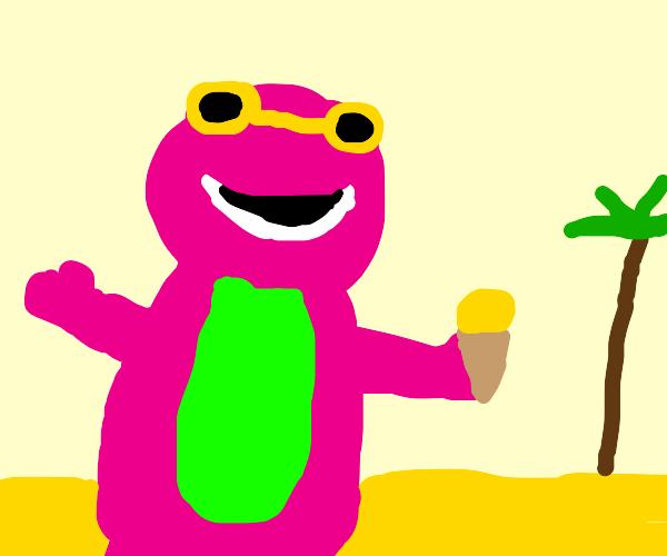 Barney the dinosaur wearing sunglasses