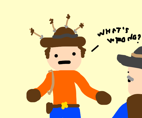 Cowboy with a bunch of arrows stuck in hat