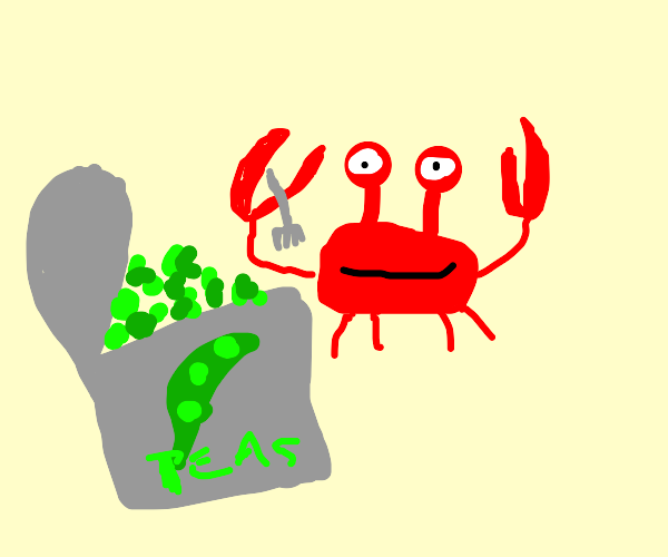 sand crab eating can of peas
