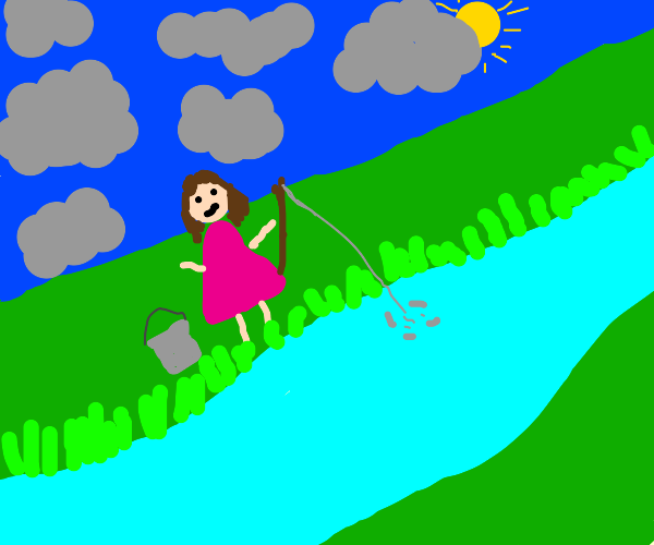 Girl fishing on a cloudy day