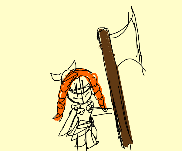 Small ginger Viking with large axe.