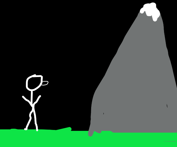 buff man in front of a mountain at night