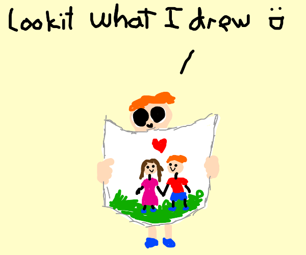 a kid shows you his super cute drawing :)